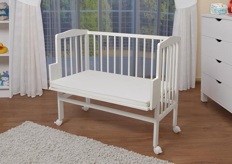 waldin baby beistellbett wiege babybett wei lackiert h henverstellbar. Black Bedroom Furniture Sets. Home Design Ideas