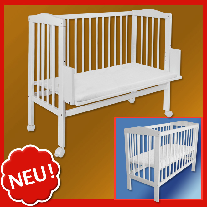 waldin baby beistellbett wiege babybett buche vollmassiv wei h henverstellbar ebay. Black Bedroom Furniture Sets. Home Design Ideas
