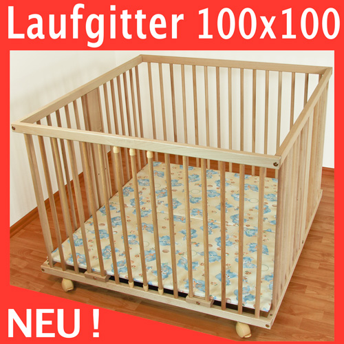 waldin baby laufgitter laufstall 100x100 buche massiv ebay. Black Bedroom Furniture Sets. Home Design Ideas