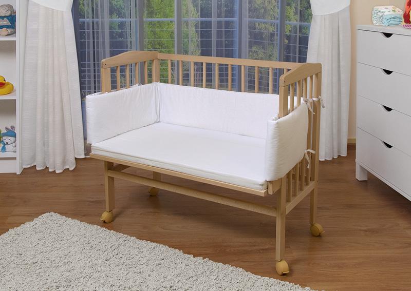 waldin baby beistellbett wiege babybett mit nestchen und matratze 8 farben ebay. Black Bedroom Furniture Sets. Home Design Ideas