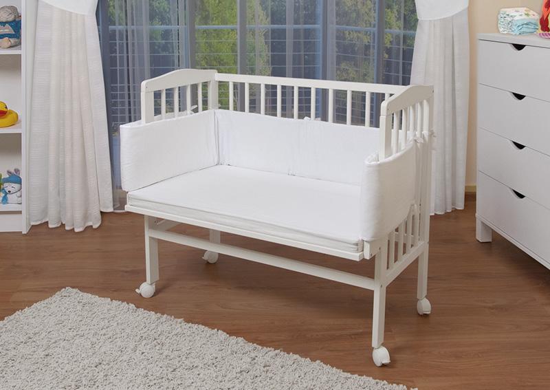 Waldin baby beistellbett wiege babybett weiß lackiert nestchen