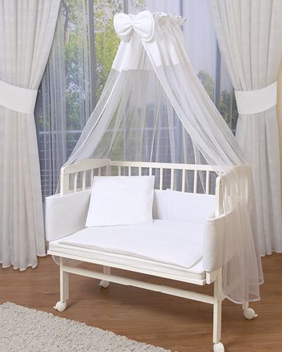 waldin baby beistellbett wiege babybett h henverstellbar wei lackiert ebay. Black Bedroom Furniture Sets. Home Design Ideas